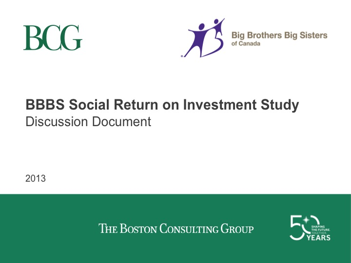 BBBS Social Return on Investment Study Discussion Document - Alberta
