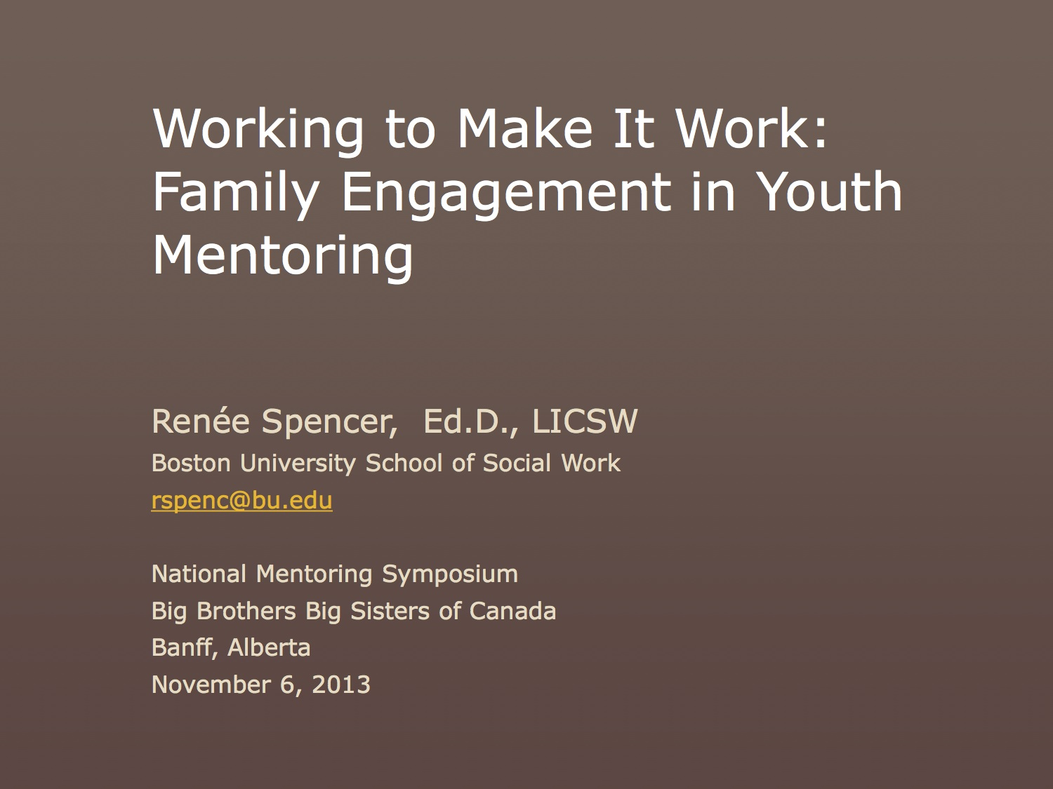 Working to Make It Work: Family Involvement in Youth Mentoring