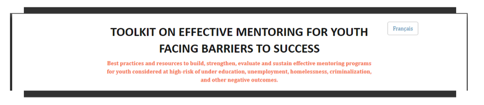 Toolkit on Effective Mentoring for Youth Facing Barriers to Success