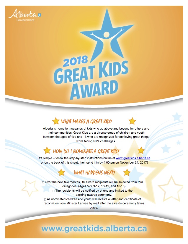 2018 Great Kids Award Nomination Form
